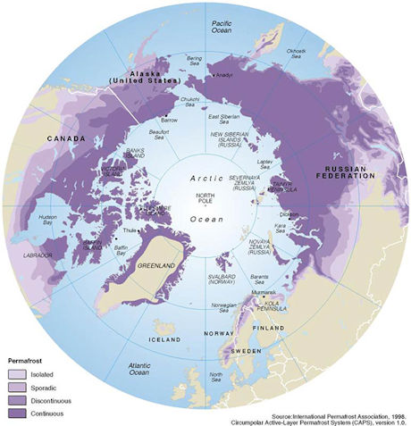 Map showing the permafrost areas in the arctic
